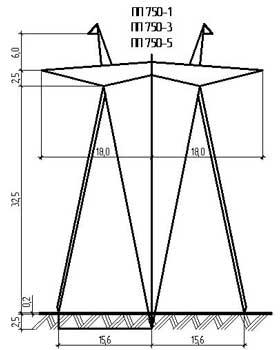 Промежуточные опоры ЛЭП для ВЛ 750 и 1150 кВ